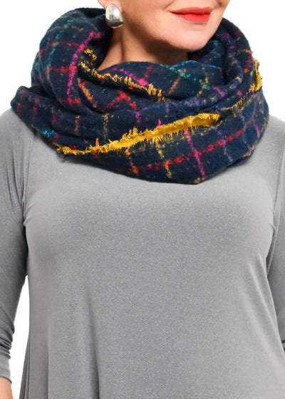 INFINITY COLOUR WINDOWPANE SCARF - NAVY
