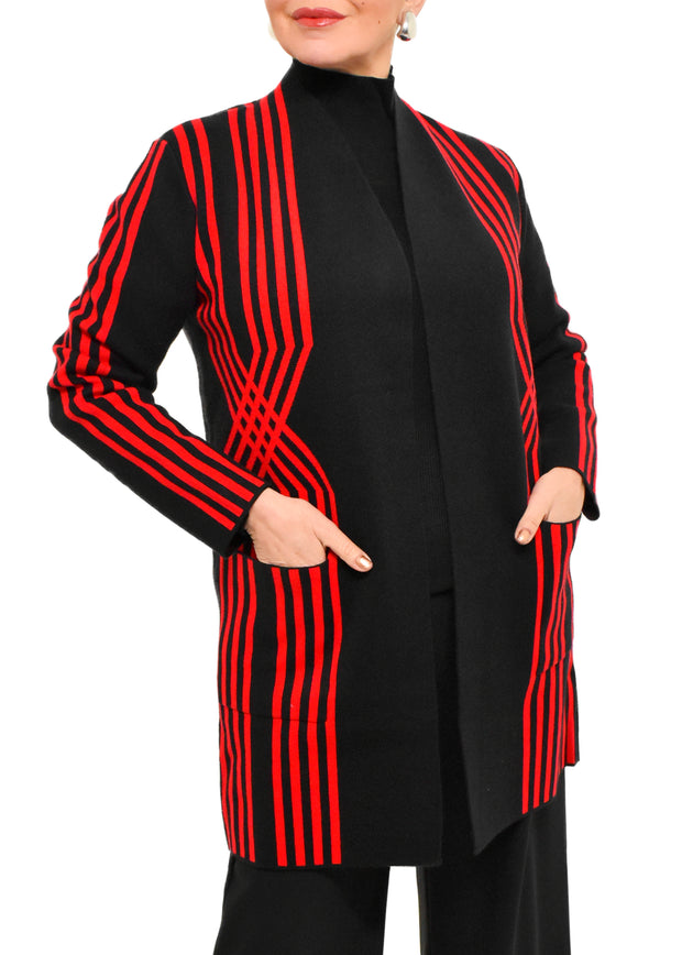 JACQUARD TWIST STRIPE CARDIGAN