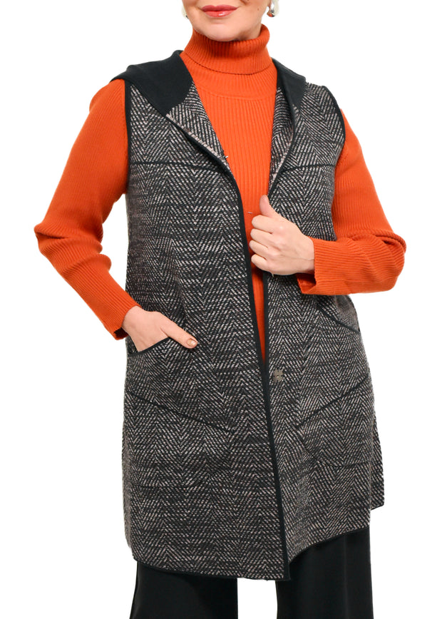 HOODED HERRINGBONE VEST