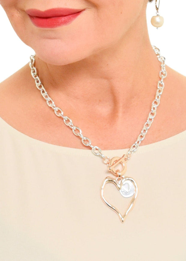 PLATE HEART CHAIN NECKLACE