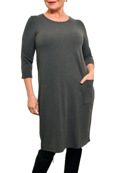 BAMBOO 3/4 SLEEVE DRESS WITH POCKET - CHARCOAL
