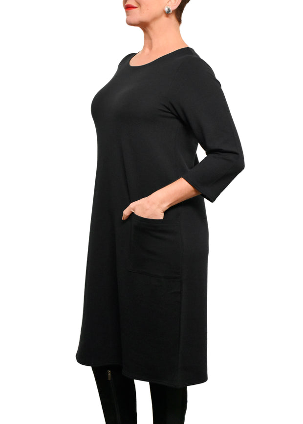BAMBOO 3/4 SLEEVE DRESS WITH POCKET - BLACK