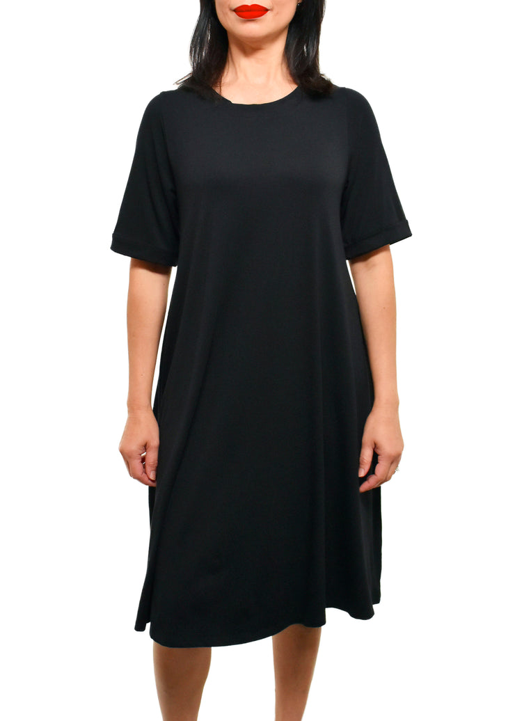SHEPHERD'S Private Label - BAMBOO SHORT SLEEVE T-SHIRT DRESS -BLACK -  1056451