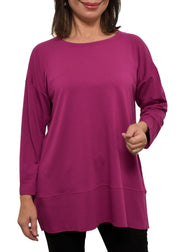 EILEEN FISHER - ROUND NECK TUNIC - CERISE