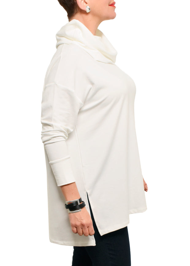 BAMBOO FRENCH TERRY COWL BOXY TUNIC - IVORY