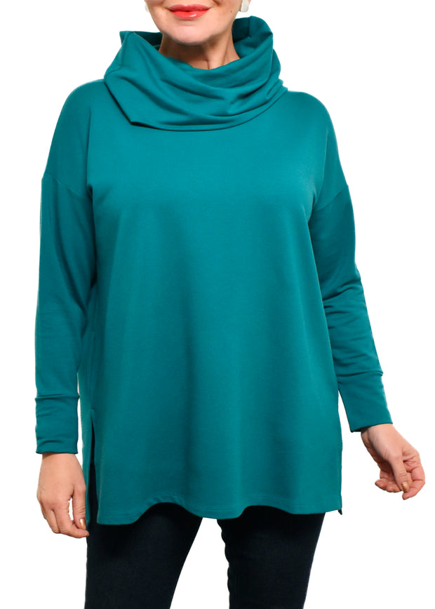 BAMBOO FRENCH TERRY COWL BOXY TUNIC - PEACOCK