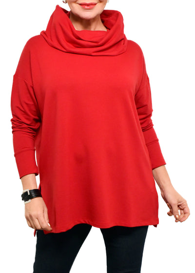 BAMBOO FRENCH TERRY COWL BOXY TUNIC - SCARLET