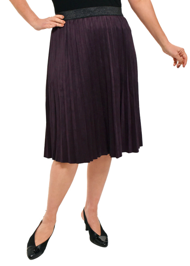 FAUX SUEDE PLEATED SKIRT - EGGPLANT