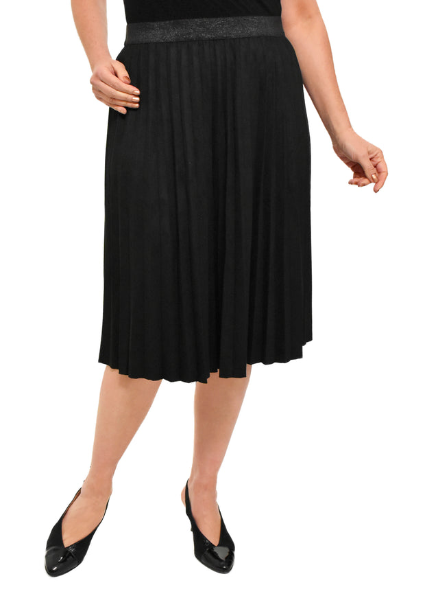FAUX SUEDE PLEATED SKIRT - BLACK