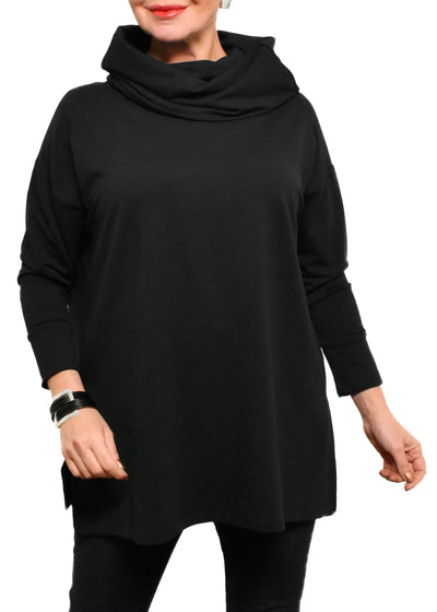 BAMBOO FRENCH TERRY COWL BOXY TUNIC - BLACK