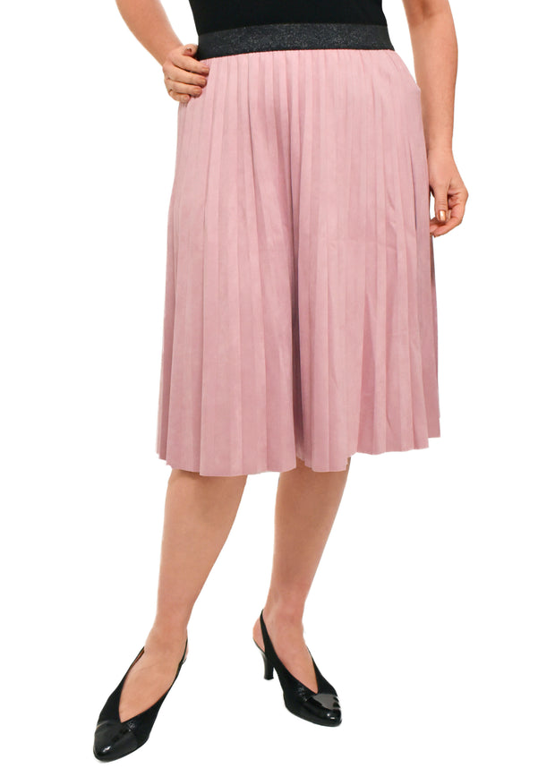FAUX SUEDE PLEATED SKIRT - LILAC