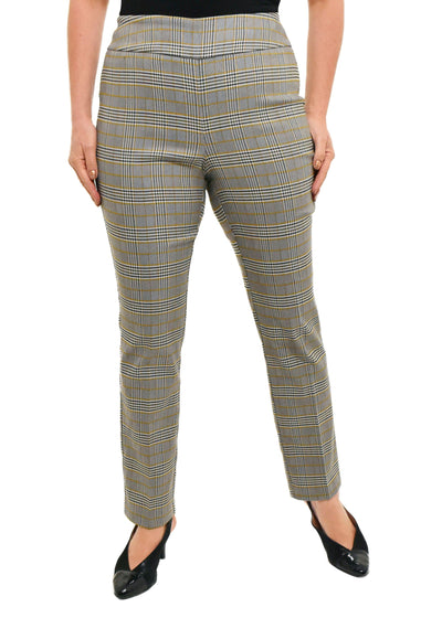 PLAID CHECK PULL ON PANT - MUSTARD