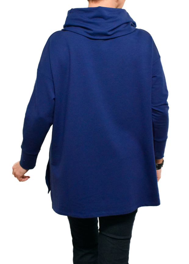 BAMBOO FRENCH TERRY COWL BOXY TUNIC - FLIGHT BLUE
