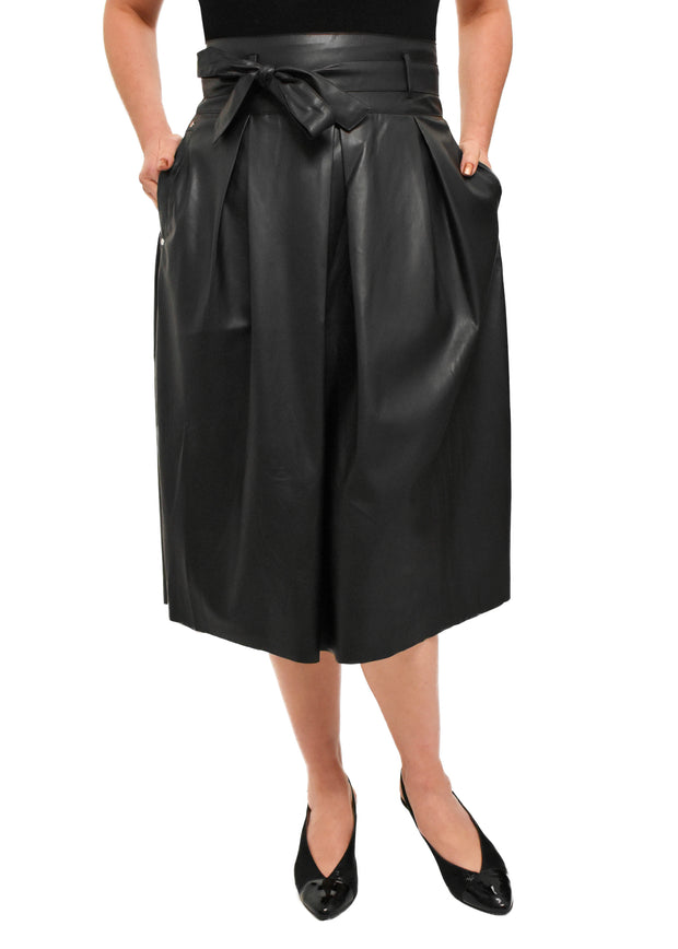 FAUX LEATHER SKIRT WITH BELT - BLACK