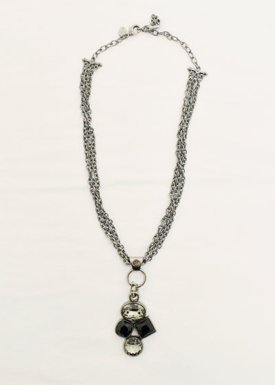 MYKA - BLACK RHODIUM CHAIN 4 CRYSTAL PENDANT NECKLACE