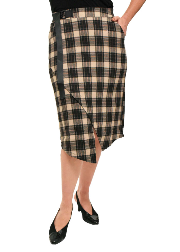 PLAID WRAP SKIRT - OAT