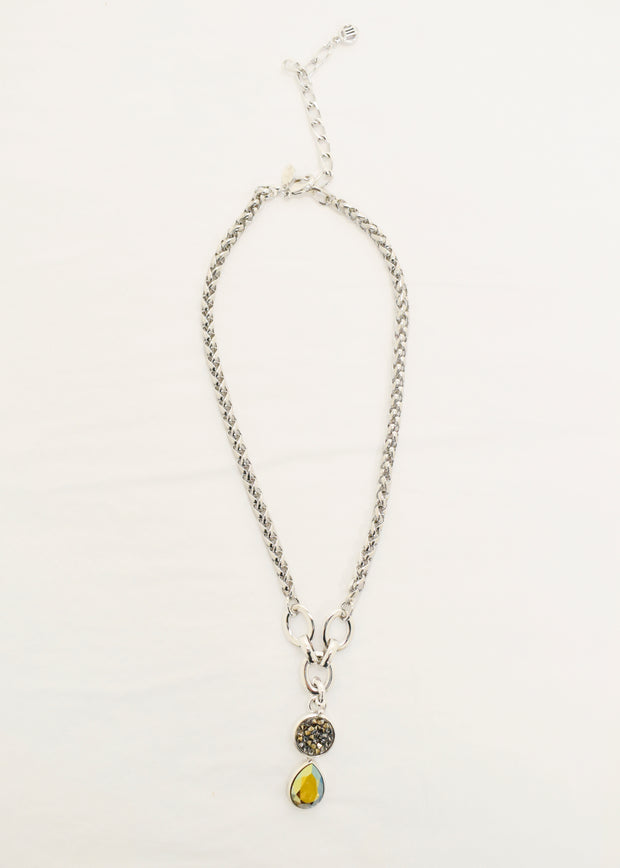 MYKA - RHODIUM ROPE CHAIN TEAR PENDANT NECKLACE
