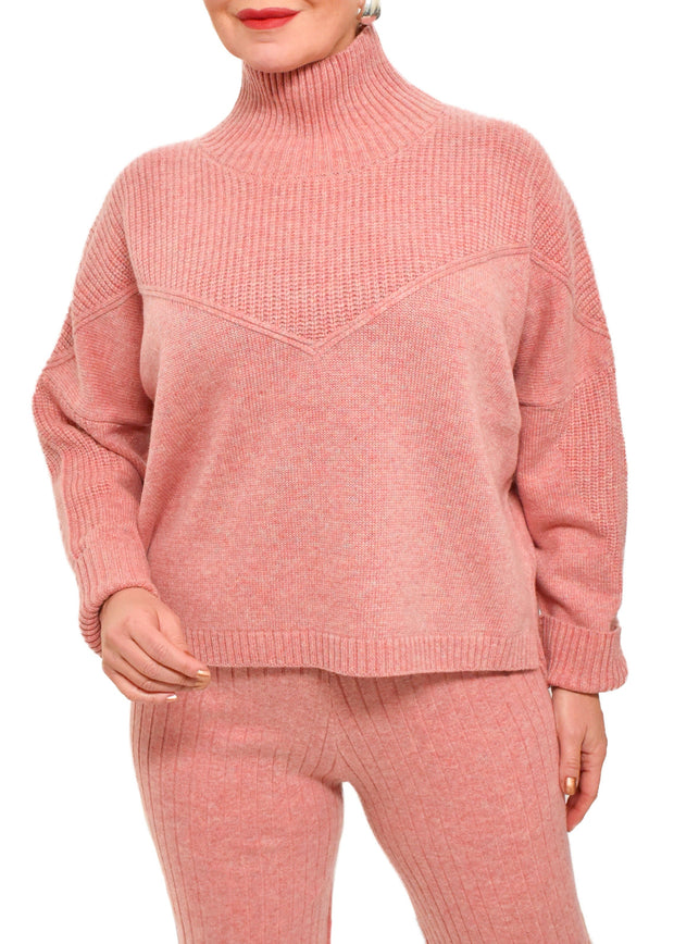 OVERSIZED TURTLENECK - ROSE