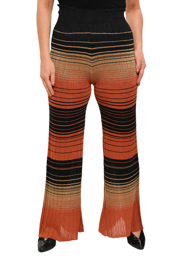 LUREX STRIPED KNIT PANT - COPPER/BLACK