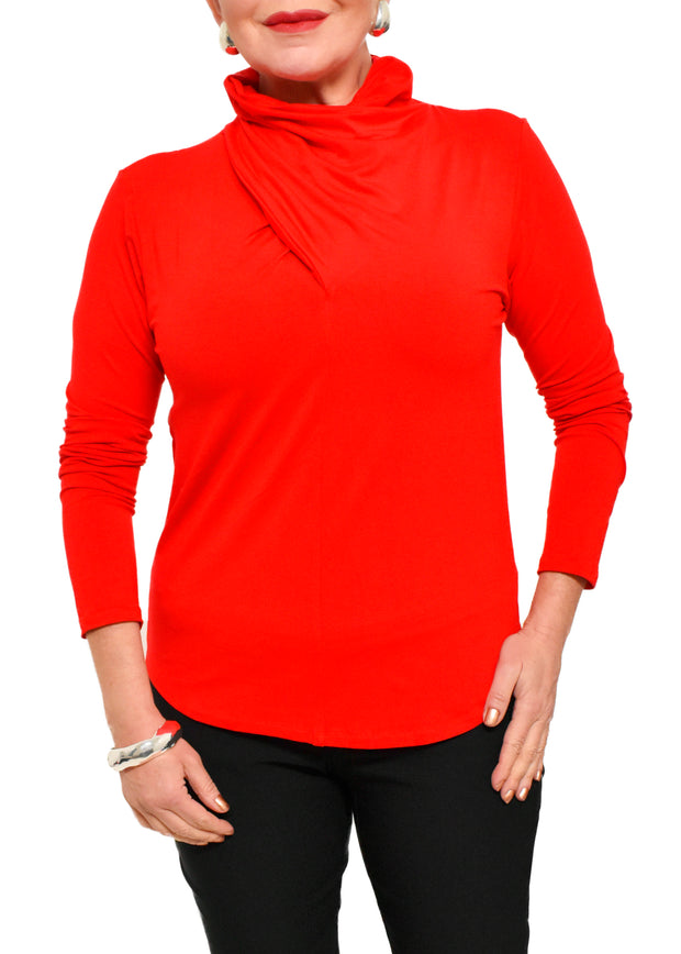 DRAPED NECK TOP - RED