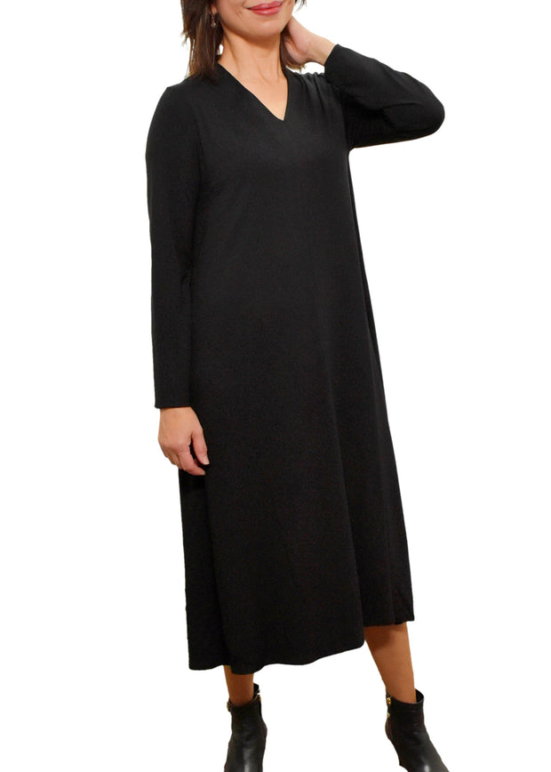 EILEEN FISHER - V NECK LONG SLEEVE DRESS - BLACK