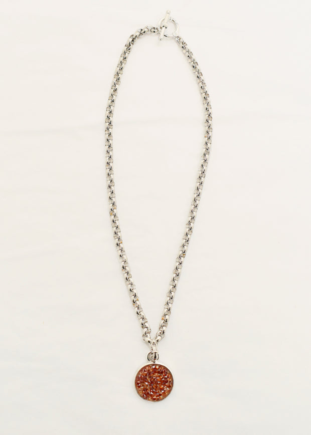 MYKA  - RHODIUM CHAIN /CRYSTAL ROCK PENDANT NECKLACE