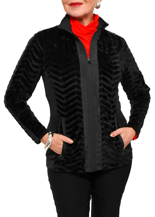 FAUX FUR SOFTSHELL JACKET - BLACK