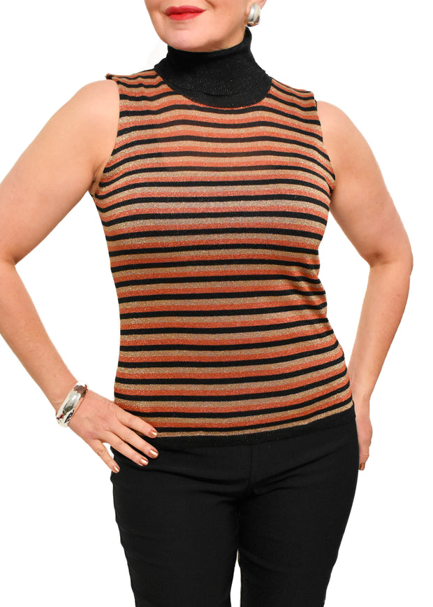 LUREX STRIPED SLEEVELESS SWEATER