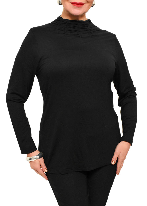 RUCHED NECK TOP - BLACK