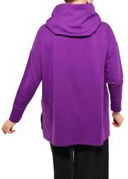 BAMBOO FRENCH TERRY COWL BOXY TUNIC - BOYSENBERRY