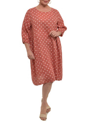 POLKA DOT GATHERED LINEN DRESS