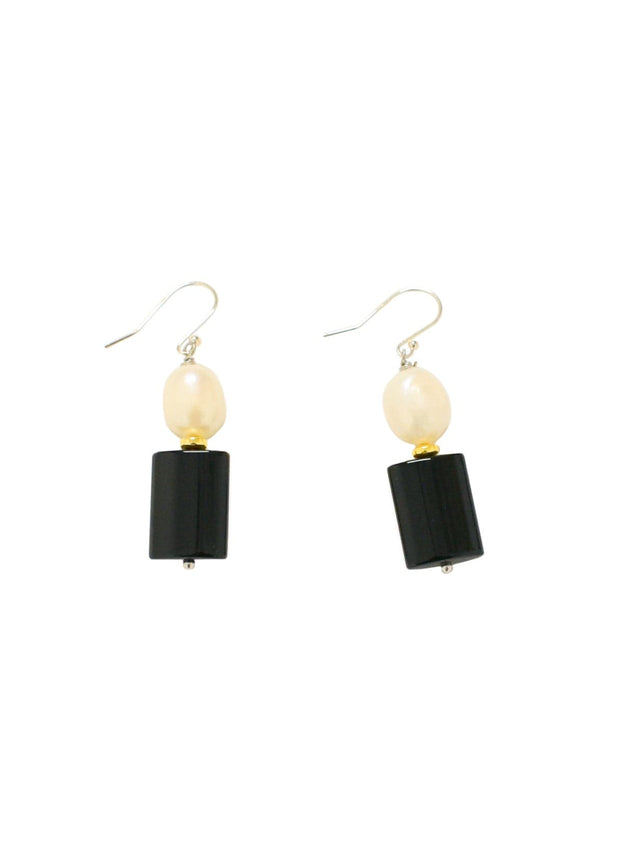 WANTED - ONYX PEARL DROP EARRING