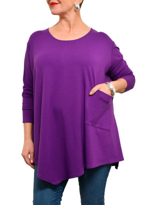 BAMBOO FRENCH TERRY ONE POCKET TUNIC - BOYSENBERRY