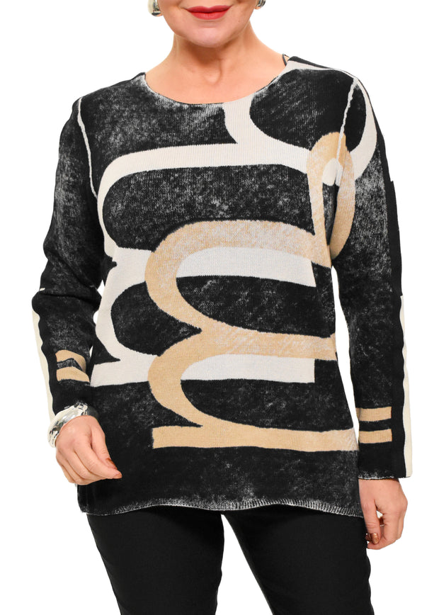 DISTRESS PRINTED SWEATER - BLACK