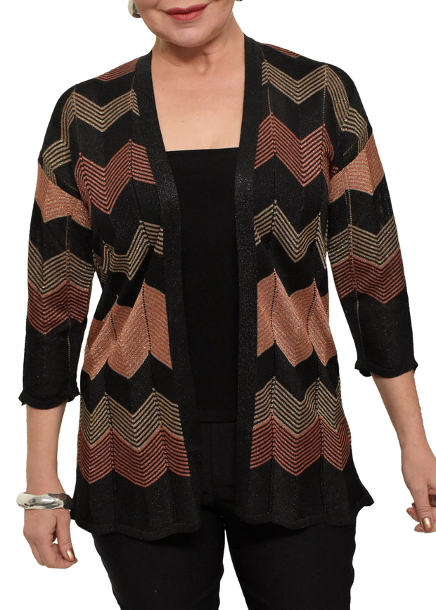 LUREX CHEVRON CARDIGAN - COPPER/BLACK