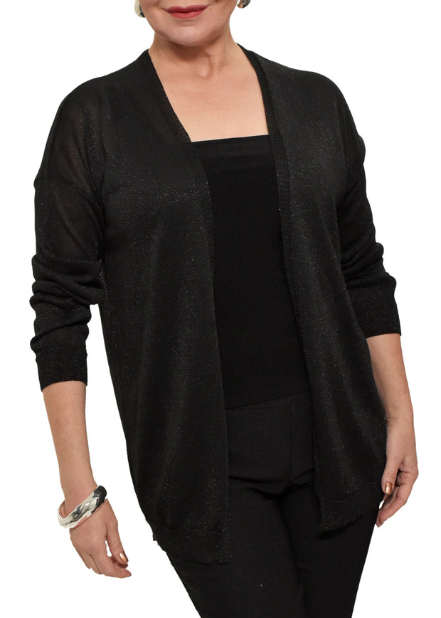 LUREX CARDIGAN - BLACK
