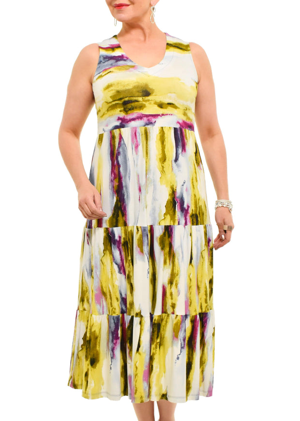 PURE - PRINTED TIERED MIDI DRESS