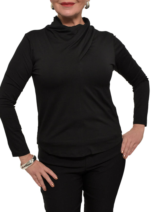 DRAPED NECK TOP - BLACK