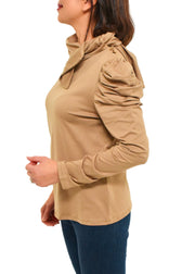 DRAPED LONG SLEEVE TOP - CAMEL