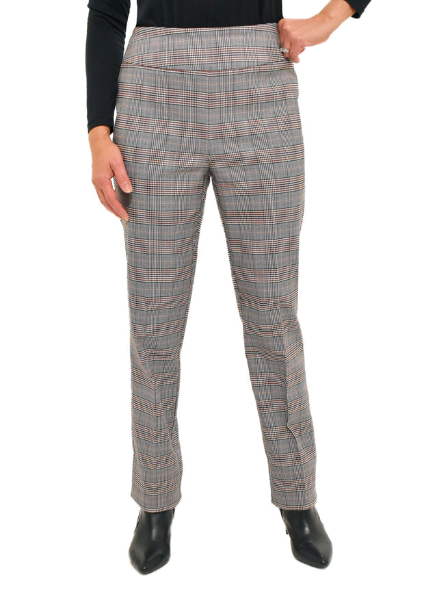 PLAID CHECK PULL ON PANT - ROSE