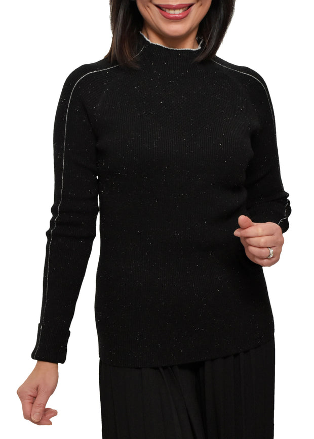 LUREX MOCK NECK SWEATER - BLACK