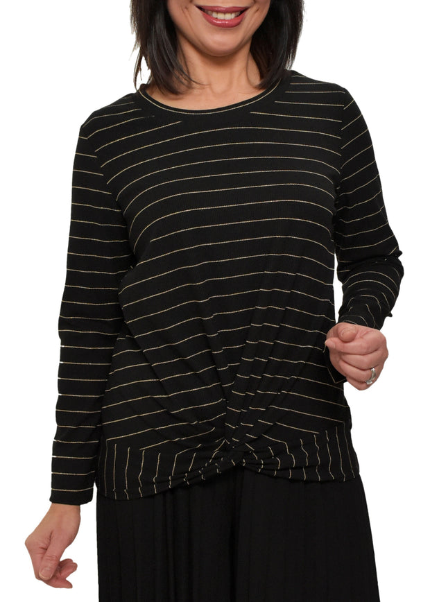 METALLIC STRIPE TWIST HEM TOP - BLACK