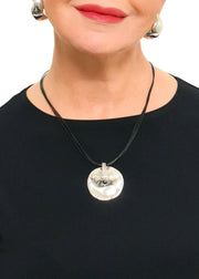 TEAR DROP NECKLACE - NAVY/SILVER