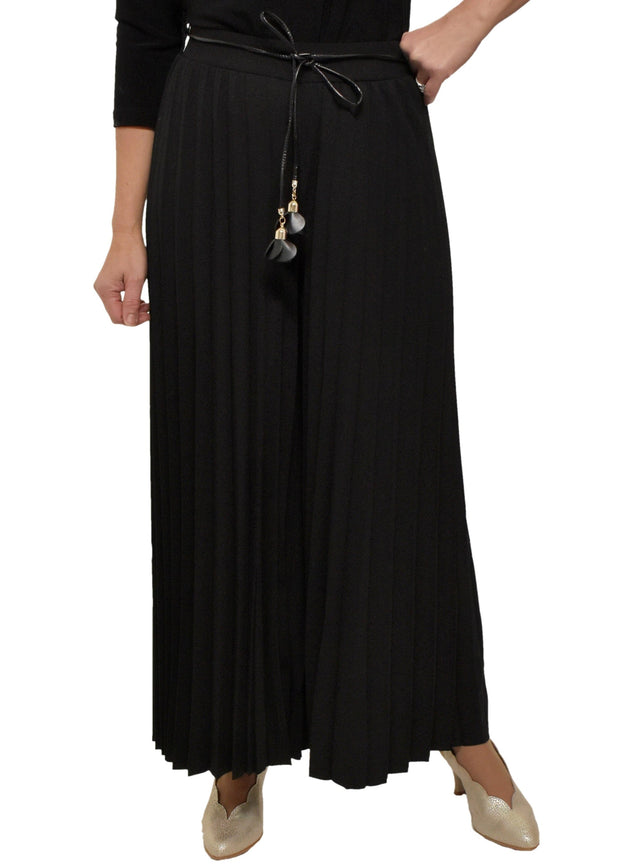 PLEATED PANT WITH BELT - BLACK