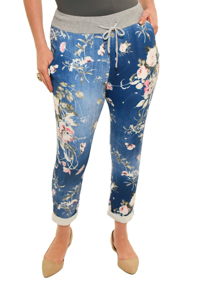 CATHERINE LILLYWHITES - DARK BLUE WITH PINK FLORAL JOGGER - 1056278