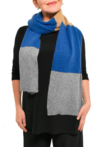 TWO TONE WINTER SCARF - BLUE