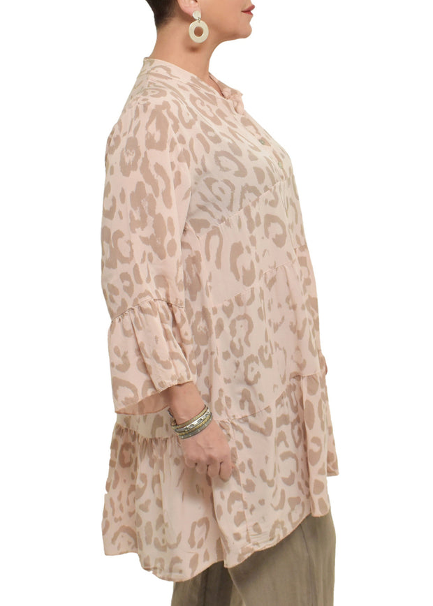 LEOPARD PRINT BABYDOLL TUNIC TOP -  PINK
