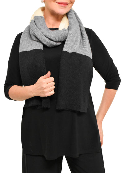 TWO TONE WINTER SCARF - BLACK