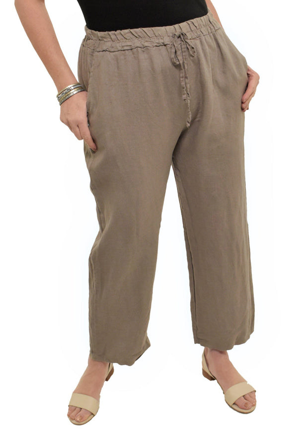 WIDE LEG LINEN PANT - TAUPE