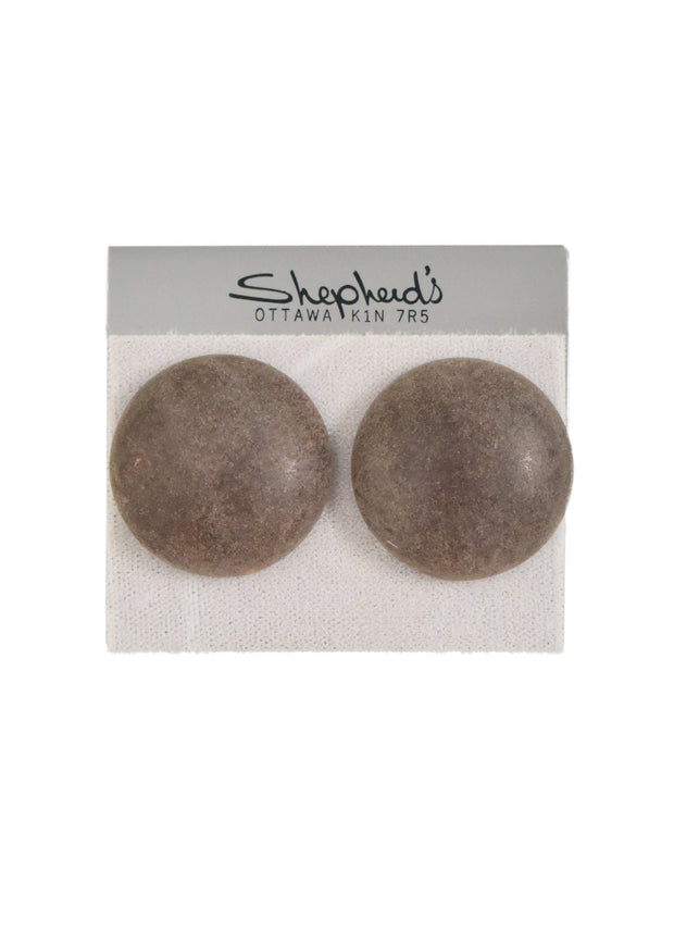 DISTRESSED BUTTON CLIP ON EARRINGS - STONE